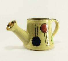 Vintage Ceramic Watering Can with Black Lines and by TheRoughGem