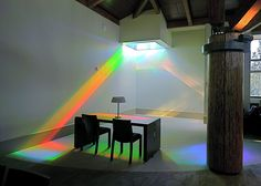 Reading room showing colors of library rainbow art installation, Erskine Solar Art