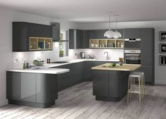 Here are the Dark Grey Kitchen Design Ideas. This article about Dark Grey Kitchen Design Ideas was posted under the Kitchen category by our team at August 2019 at am. Hope you enjoy it and don't forget to . Grey Gloss Kitchen, Modern Grey Kitchen, Grey Kitchen Designs, Gray And White Kitchen, Modern Kitchen Cabinets, Contemporary Kitchen Design, Grey Kitchens, Kitchen Cabinet Design, Interior Design Kitchen