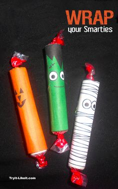 Halloween Printable: Smarties Candy Wrappers for Trick or Treating #IdeasForHalloween #Homemade #Crafts