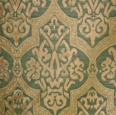 6+ yards Superb Green & Gold Gothic Textured 100% Heavy Silk Twill Upholstery Fabric from Italy-Do take a look at the rest of the pix via link-an amazing fabric!