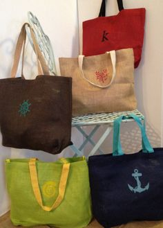 Natural Jute Beach Bags by 2happygrlzdesign on Etsy, $20.00