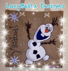 Personalised jute bag TOWIE bag customised jute bag disney frozen olaf bag anna elsa jute bags by LucyBellaDesigns on Etsy https://www.etsy.com/listing/200712637/personalised-jute-bag-towie-bag