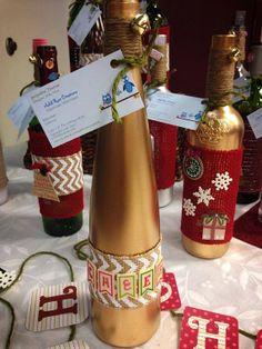 Christmas Decorative Wine Bottles 50% off! www.facebook.com/addirosecreations
