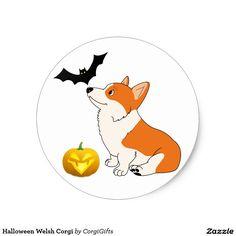 Halloween Welsh Corgi Classic Round Sticker