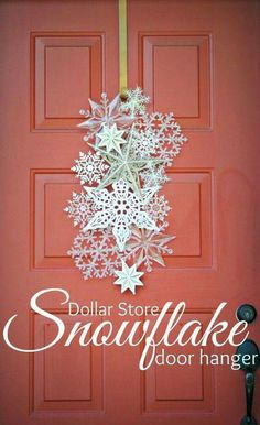 DIY Dollar Store Christmas Decor Ideas - For Creative Juice Dollar Store Snowflake Door Hanger. Welcome the upcoming winter holiday with a create and elegant door hanger made with snowflake ornaments! Noel Christmas, Winter Christmas, Christmas Wreaths, Christmas Ornaments, All Things Christmas, Snowflake Ornaments, Winter Wreaths, Paper Snowflakes, Snowflake Craft