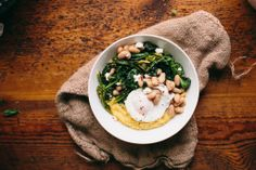 Red Pepper Rapini, White Beans, and Grits