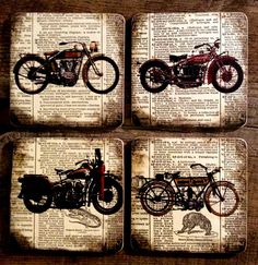 Antique Motorcycles Wood Coasters Gift for Men by OnceTattered