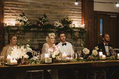 Jon + Julia's wedding reception - Audley Dance Hall. Bridal Table