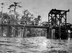 "Middleburg bridge on Black Creek. ""Bridge built by Sherman Bryan Jennings, son of Gov."" State Archives of Florida, Florida Memory Vintage Florida, Old Florida, Green Cove Springs Florida, Florida Images, Clay County, Roads And Streets, Orange Park, Jacksonville Fl, Stark"