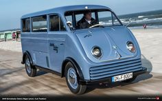 Restored one of two remaining DKW electric Schnellaster Small bus once in use on the North Sea island Wangerooge Audi Tradition has addedan outstanding ne