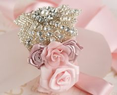 Bridal Bracelet Corsage  Wedding Crystal Bracelet with by SolBijou, $135.00