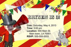 Circus Birthday Invitation by InvitasticInvites on Etsy, $12.00