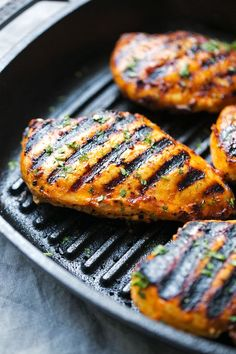 A simple recipe for asian grilled chicken. I marinate whole chicken breasts or thighs in sriracha, honey, rice vinegar, and a bit of mayo for tenderness!