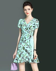 #AdoreWe #VIPme (VIPSHOP Global) Womens - LONYUASH Green Floral V Neck Ruffle Tied A-Line Dress - AdoreWe.com