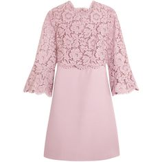 Valentino Bell-sleeve corded lace and crepe mini dress (37.430 ARS) ❤ liked on Polyvore featuring dresses, valentino, crepe dress, antique dresses, rose pink dress, short dresses and bell sleeve dress