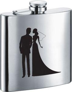 Visol Beautiful Groom and Bride Stainless Steel 6oz Hip Flask