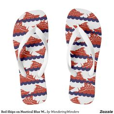 Red Ships on Nautical Blue Waves Flip Flops