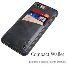 iPhone 7 Plus Genuine Italian Full Grian Leather Snap On Wallet Case with Card Slots [Black]