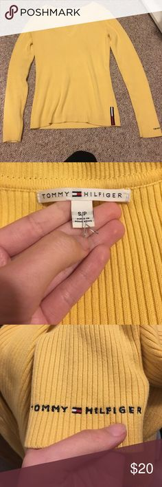 Yellow Tommy Hilfiger Sweater Vintage Tommy Hilfiger Sweater in a bright yellow! Great preworn condition. Lettering on bottom of left sleeve and logo on left hem. Unique split v neck detailing. Make me an offer! Tommy Hilfiger Sweaters V-Necks