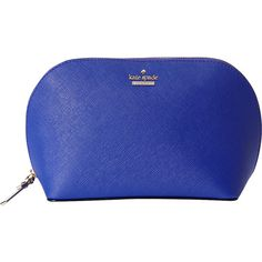 Kate Spade New York Cameron Street Abalene Cosmetic Bag ($63) ❤ liked on Polyvore featuring beauty products, beauty accessories, bags & cases, blue, cosmetic purse, wash bag, make up purse, kate spade makeup bag and makeup bag case