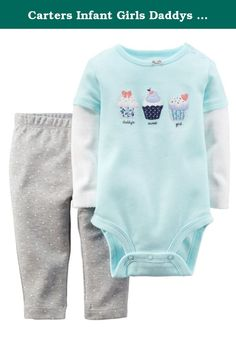 "Carters Infant Girls Daddys Sweet Girl Cupcake 2 PC Outfit Bodysuit Leggings 6m. This cute 2 piece outfit includes a blue with white long sleeves mock layered bodysuit with cupcake appliques and says ""Daddy's Sweet Girl"", and gray stretch leggings with white dots. Infant girl's sizes 2-Piece set Long sleeve bodysuit with shoulder and bottom snaps Elastic waist stretch leggings 100% Cotton Brand: Carters ."