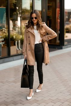 Vegan Suede Trench for Work Suede Trench Coat, Trench Coat Outfit, Brown Suede Jacket, White Coat Outfit, Beige Outfit, Leather Pants Outfit, Faux Leather Pants, Camel Pants Outfit, Paris Outfits