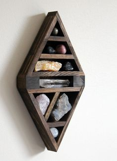 Diamond Wood Curio Shelf with Crystal and Mineral Collection | stoneandviolet