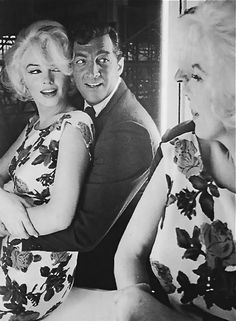 """Marilyn Monroe and Dean Martin during the filming of""""Somethings Got to Give"""". After her death he refused to continue filming the movie with a replacement actress. He was a true friend, loyal to her even after her death. The film was made with other actors (Doris Day in Marilyn's role) and renamed """"Move Over Darling"""". The footage they have of Marilyn's work was made into a documentary."""