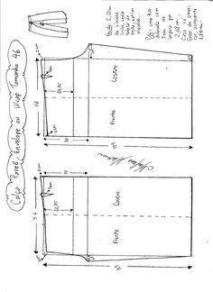 Esquema de modelagem de Calça Pareô, Wrap ou Envelope tamanho 46.