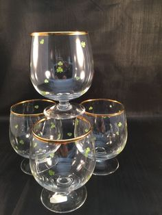 Waterford Barware Ireland 3 Leaf Clover Stemware 8 oz Brandy Wine Glass set of 4 #Waterford