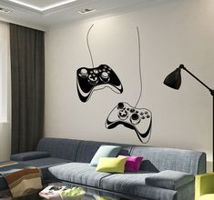 Vinyl Wall Decal Joystick Video Game Play Room Gaming Boys Stickers Unique Gift in X 45 in / White