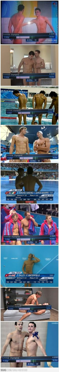 I thought this was hilarious during the Olympic Games, but I WILL point out that 2 of these screen captures are ACTUAL gay porn bahaha. Lol, Haha Funny, Funny Cute, Funny Stuff, That's Hilarious, Awesome Stuff, Funny Things, Living Pool, Fraggle Rock