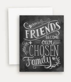 Friendship Card Best Friend Card Chalkboard Art door LilyandVal