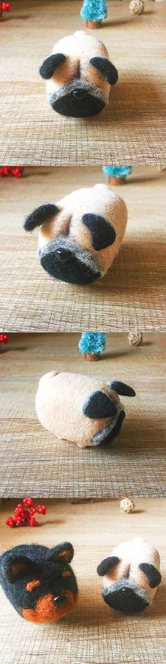 Handmade Needle felted dog felting kit project Animals Pug cute for beginners starters