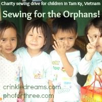 As part of her Pho for Three fundraiser, Teresa Coates is heading up a charity sewing drive to get quality, handmade items to these kids that she loves so much. There are five things, in particular, that she's asking for: shorts, dresses, messenger bags, pencil pouches and simple diapers. Depending on your time, sewing abilities, spare fabric, etc. you can pick whichever one you want to make. With more than 100 kids ranging from newborn to 17 years old, there's plenty of opportunity to help.