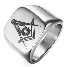 DDOLAA Jewelry Retro Hip Hop Style Silver Titanium Steel Plated Masoni - InnovatoDesign Freemason Ring, Meteorite Wedding Band, Black Onyx Ring, Titanium Rings, Steel Plate, Hip Hop Fashion, Diamond Bracelets, Plating, Rings For Men
