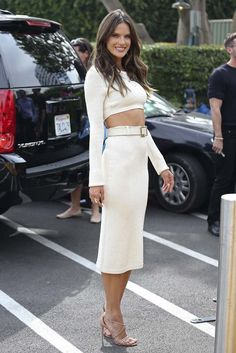 Alessandra Ambrosio donned a sexy and lean Calvin Klein Collection look from resort. [Photo by JB Lacroix/GC Images]