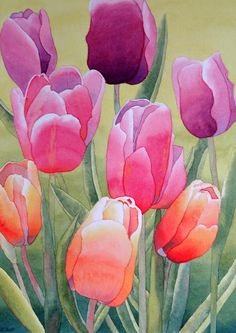 Spring Painting by Laurel Best Watercolor Plants, Abstract Watercolor, Watercolor Paintings, Watercolors, Tulip Painting, Spring Painting, Arte Floral, Abstract Flowers, Flower Art