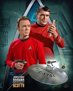 James and Chris Doohan as Scotty. Scotty Star Trek, Star Trek 1, Star Trek Crew, Star Trek Ships, Star Trek Beyond, Akira, Star Trek Continues, Star Trek Convention, Star Trek Characters