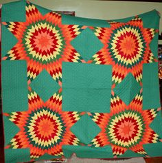 Hand Made Vintage Quilt -  Lone Star Quilt Hand Quilted.