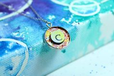 Color Splash Custom Circle Charm with India Ink and Chipboard, 16 mm Pendant by TheFarPavilion on Etsy