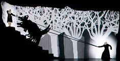 """Black and white silent film images are a unique part of a Los Angeles Opera presentation of a Komische Oper Berlin production of Mozart's """"The Magic Flute"""" Set Design Theatre, Stage Design, Conception Scénique, Baumgarten, The Magic Flute, Shadow Art, Fantasy Films, Sun And Stars, Stage Set"""