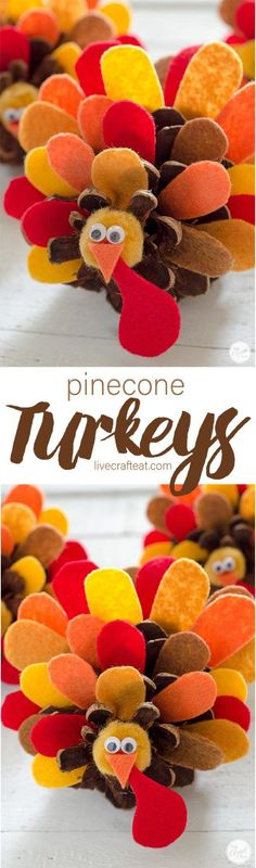 Pinecone Turkey Craft With Felt Feathers – How To thanksgiving pinecone turkeys :: perfect for decorating or using as place cards at your thanksgiving table! Thanksgiving Crafts For Kids, Thanksgiving Traditions, Thanksgiving Parties, Thanksgiving Turkey, Thanksgiving Decorations, Thanksgiving Activities, Fall Decorations, Halloween Crafts, Holiday Crafts