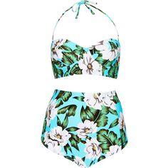 TOPSHOP Blue Floral Longline Bikini ($45) ❤ liked on Polyvore featuring swimwear, bikinis, bikini, swim, swimsuit, bathing suit, bright blue, floral high-waisted bikinis, bikini swimsuit and floral swimsuit