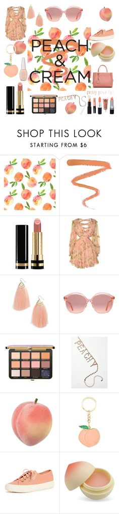 """""""peach outfit"""" by ariiikmk ❤ liked on Polyvore featuring beauty, Ellis Faas, Gucci, Zimmermann, Panacea, Superga, TONYMOLY, Fendi, Maybelline and peachlipstick"""