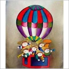 Original Oil On Canvas 'Band in a Balloon' on eBid United Kingdom Oil On Canvas, United Kingdom, Balloons, Hand Painted, Band, The Originals, House, Painting, Globes