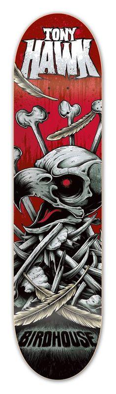 Tony Hawk Deck by Lincoln Design Co Tony Hawk Skateboard, Skateboard Deck Art, Longboard Decks, Skateboard Design, Old School Skateboards, Cool Skateboards, Skates, Blade Runner, Birdhouse Skateboards