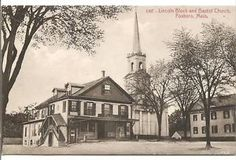 Lincoln Block and Baptist Church on School Street in downtown Foxborough, Massachusetts, USA 02035