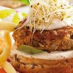 Chickpea burger Chickpea Burger, Bean Burger, Salmon Burgers, Lunch Ideas, Beans, Food And Drink, Pork, Yummy Food, Ethnic Recipes